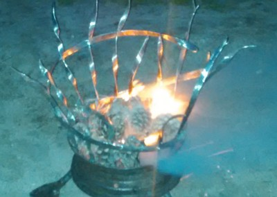 """Frozen Fire"" Steel Brazier"